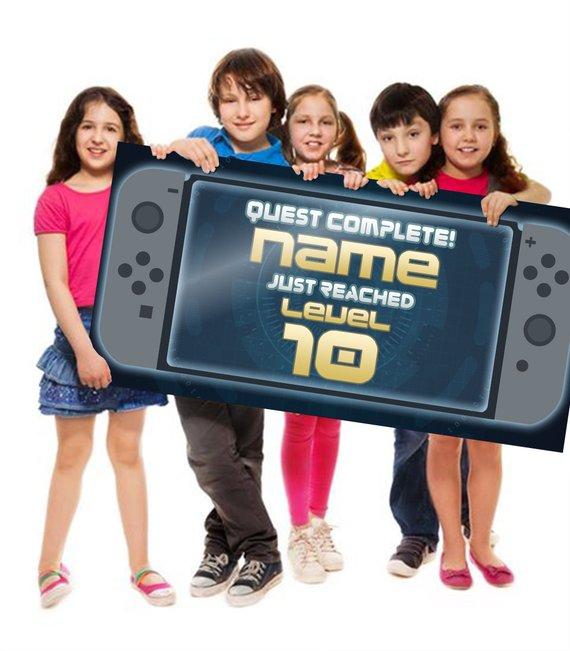 Gamer Banner, Birthday Banner, Video Game banner, Nintendo DS, Poster, Custom Banner, Gamer Birthday Banner