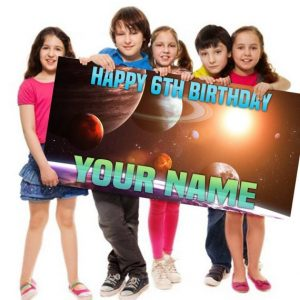 Space Solar System themed Birthday Banner Personalized Customized